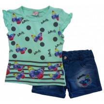 Комплект на девочку ментоловый с бабочками (шорты и футболка)