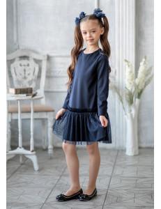"""Платье синего цвета с сеткой по низу """"Лорена"""""""