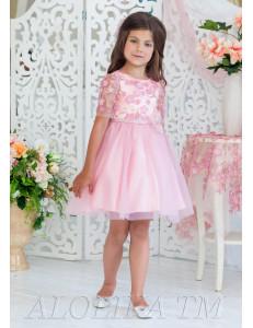 Платье нарядное цвета сухая роза с нежными цветами Арабелла