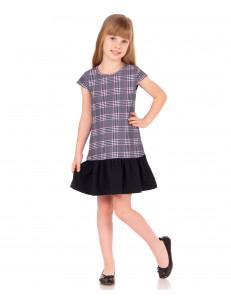 Платье с коротким рукавом в серую клетку с кокетливой юбочкой