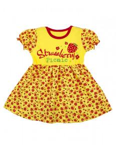 """Платье для малышек желтого цвета """"клубнички"""""""
