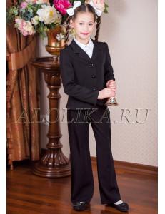 """Костюм для девочек черного цвета (жакет и брюки) """"Лицей"""""""