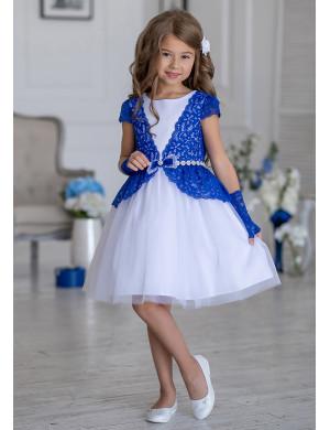 Платье нарядное с синей кружевной отделкой Тифани